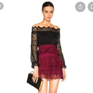 Self portrait tiered lace skirt